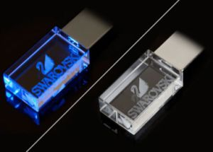 Custom Logo Crystal USB 2.0 Flash Memory with LED Light pictures & photos