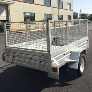 8X5 Hot Dipped Galvanized Box Trailer with Cage pictures & photos
