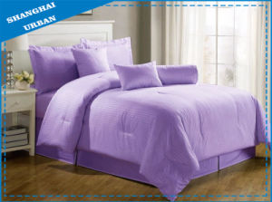Purple Stripe Hotel Cotton Bedding Set with Comforter Set pictures & photos