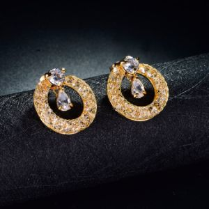 Fashion Jewelry Handmade Round Hoop Crystal Stud Earrings pictures & photos