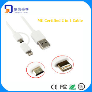 Mfi Certificate PVC Material 2 in 1 USB Lighting Cable for Charging (LC-CB2001) pictures & photos