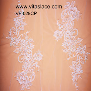 White Rayon Sequined and Corded Lace Motif for Lady Garments From Factoryvf-029cp