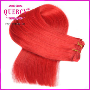 Colorful Hot Red Brazilian Virgin Human Hair Weaves Wefts Straight Hair Extensions pictures & photos