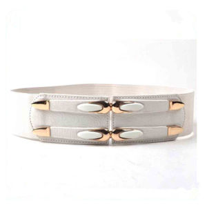 Stylish Ladies Wide Elastic and PU Waist Belts Factory China pictures & photos