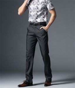 Men′s Leisure Pants/ Men Middle Waist Without Elastic Casual Straight Trousers P4858 pictures & photos