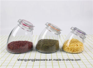 Free Sample Fashion Shape Glass Container with Good Sealed Lid pictures & photos