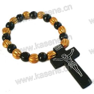 6mm Round Wooden Beads Wrapped Bracelet with Wooden Cross pictures & photos