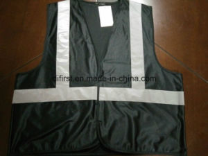 Safety Vest Bright Black 100%Polyester Knitting Fabric pictures & photos