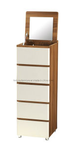 Modern Wooden Chest of 5 Drawers with Mirror (B1035)