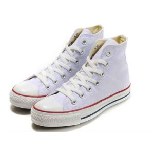 High Top Canvas Shoes Stock Shoes Plain White Canvas Sneakers pictures & photos