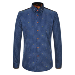2017 Spring Men′s Long Sleeve Casual Slim Fit Printed Shirt