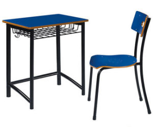 Single Student School Furniture Desk and Chair Fixed Wood Metal Desk pictures & photos