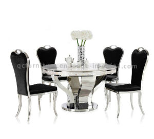 Marble Top/Stainless Steel White Marble Round Dining Table pictures & photos