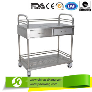 S/S Hospital Instrument Treatment Trolley with Drawers pictures & photos