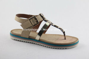 T-Strap Design Lady Beach Sandal with Flat Heel pictures & photos