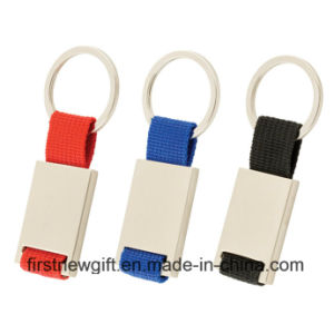 Promotion Gifts Metal Popular Rectangle Color Ribbon Key Chain (F1016)