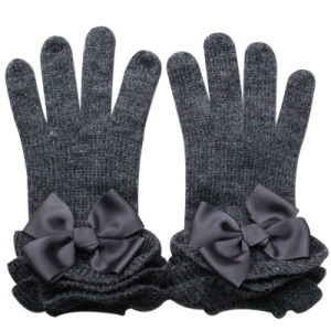 Lady Fashion Ribbon Bow Wool Knitted Winter Dress Gloves (YKY5468-4) pictures & photos