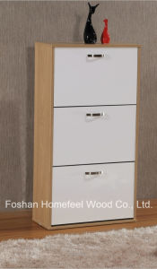 Home Furniture Glossy Wooden 3 Rotating Drawers Shoe Cabinet (XE31) pictures & photos