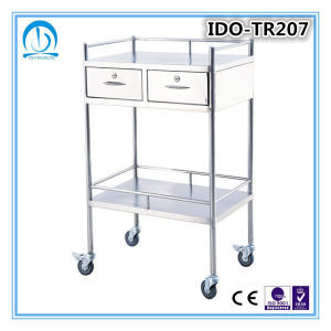 Ido-Tr208 Stainless Steel Hospital Trolley with Drawer pictures & photos