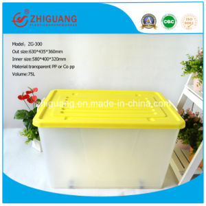 Heavy Duty 75L Plastic Storage Box Moveable Food Container Gift Box Shoes Box with Wheels for Household Products pictures & photos