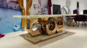 High Quality Natual Marble Dining Table with Golden Base pictures & photos