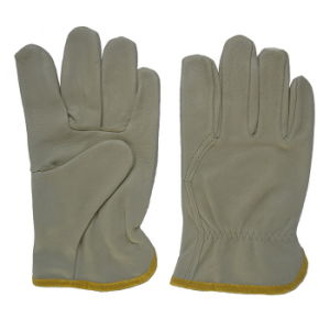 Pig Leather Wing Thumb Safety Machanist Working Gloves pictures & photos