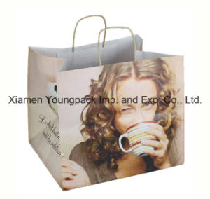 Luxury Printed Twisted Handle Kraft Paper Bag with 250mm Gusset pictures & photos