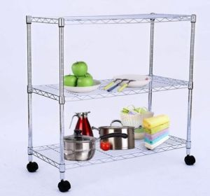 DIY Modern Chrome Metal Wire Home Storage Cart (TR753590B3CW) pictures & photos