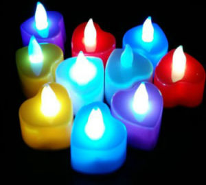 Heart-Shaped LED Candles for Party Bar Village Floor Christmas Decorative Birthday Gift Dinner Votive pictures & photos