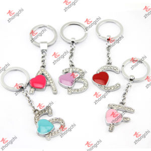Enamel Heart Alphabet Metal Keychain Wholesale (KR15121420)