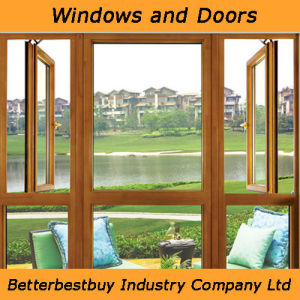 Casement Aluminum Wood Window with Yellow Wooden Color pictures & photos