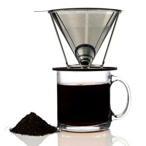 Double-Layer Pour Over Stainless Steel Cone Filter Coffee Dripper pictures & photos