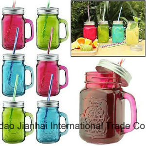 450ml Colored Juice Bottle Glass Cup with Lid and Handle pictures & photos