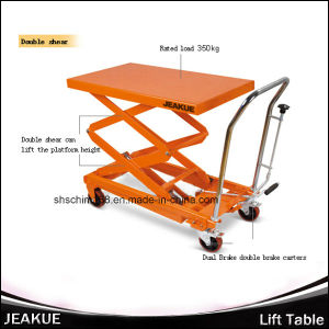Jeakue Pedal Lift Table with Double Scissor 300-1000kg pictures & photos