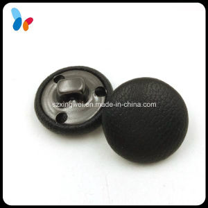 Black Leather Covered Button Brass Shank Button pictures & photos