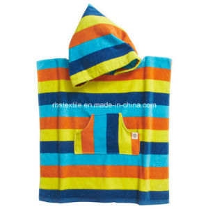 Reactive Printed Bath Towel Beach Poncho for Kids pictures & photos