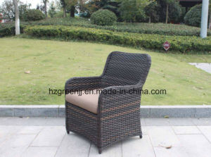 Wicker Furniture Outdoor Dining Table Set with Rattan Chair 0051 10mm Half Moon Curve Flat Wicker and 5mm Round Wicker pictures & photos