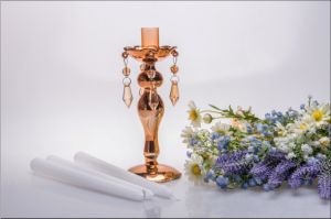 Golden Single Poster Glass Candle Holder for Wedding Decoration pictures & photos