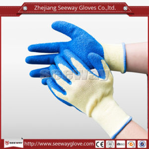 Seeway Health Soft Cotton Hand Glove Comfortable Wearing with Crinkled Latex Coating for Industrial Safety Work