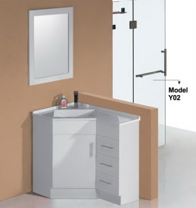 High Glossy Corner Bathroom Vanity with Mirror (PC6090) pictures & photos
