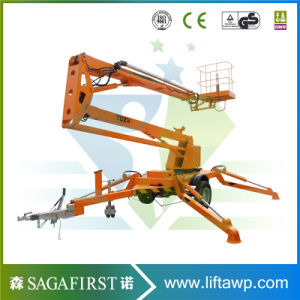 14m 16m Portable Small Three Wheels Tow Behind Boom Lift pictures & photos