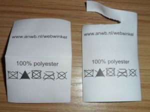Customized White 100% Polyester Washing Label pictures & photos