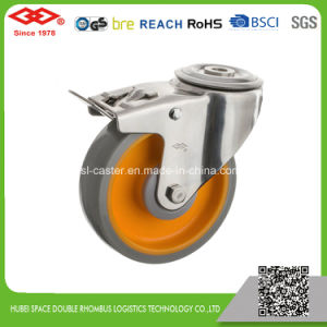 125mm PU Fixed Stainless Steel Caster (D104-36E125X35B) pictures & photos