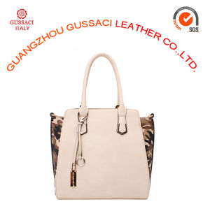Trendy Design Beige PU Camouflage Nylon Side Tote Bag
