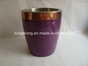 New Plate Copper Stainless Steel Ice Buckets, Stainless Steel Double Wall Ice Bucket pictures & photos
