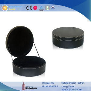 Elegant Cylinder Black PU Leather Custom Storage Box (5506R8) pictures & photos