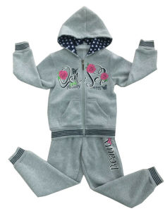 Fleece Flower Kids Girl Sportswear Suit in Children ′s Clothes Swg-131
