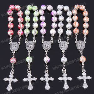 Wholesale Handmade 8mm Colorful Plastic Religious Rosary Bracelets