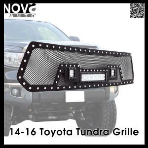 Car Accessories Auto Parts 14-16 Toyota Tundra Stainless Steel Wire Mesh Cutout LED Light Grille Black