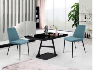 Latest Simple Design Blue Fabric Dining Chair with Iron Leg (DC017)